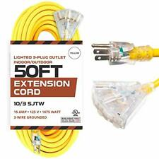 50 Foot Lighted Outdoor Extension Cord with 3 Electrical Power Outlets - 10/3 SJ