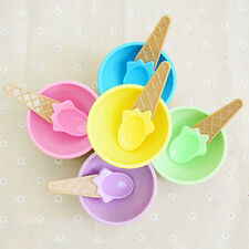 New Baby Feeding Spoon Bowl Set Kids Creative Cutlery Plastic Ice Cream Shaped