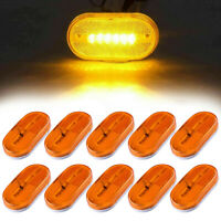 "10x Amber Clearance Side Marker Light RV Camper Trailer 6 LED Bulbs Lamp 4"" x 2"""