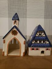 Leyk Lichthous Church and Hou Candle Holder Germany Signed Blue Roof