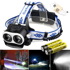 Garberiel 100000LM 2-T6 HeadLamp USB Rechargeable HeadLight +18650 Battery&Cable