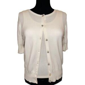 KAREN KANE LIFESTYLE Ivory Cardigan Sweater Rhinestone Buttons Medium Women's