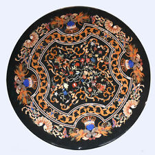 "36"" Black Marble Coffee Table Top Pietra Dura Inlay Work Home Decor"