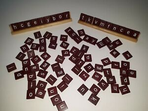 Scrabble Tiles. Maroon. 92 Replacement Tiles with 2 Tile Holders.
