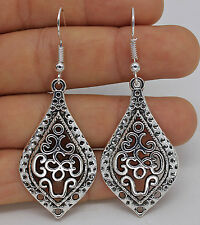 925 Silver Plated Hook- 2.4'' Hollow Party Waterdrop Lady Classical Earrings #61