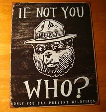 Rustic Vintage Wood Style Smokey The Bear Lodge Cabin Camping Decor Tin Sign