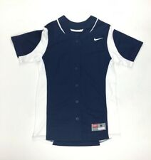 New Nike Vapor Full-Button Softball Training Jersey Women's Small Navy 630600