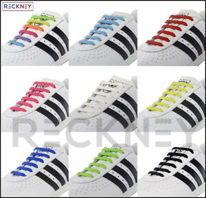 Easy Shoelaces No Tie Silicone Flat Shoe laces For Adults & Kids Trainers Shoes