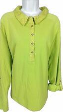 Caribbean Joe Womens 3XL Green Top Roll Up Long Sleeves New w/Tags