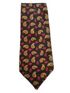 Men's Tie Silk Vintage Fantasy Cashmere Black Man Road Hand Made