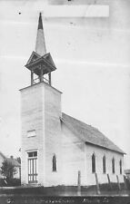 Moville Iowa~German Lutheran Church~House Next Door~1907 Real Photo Postcard