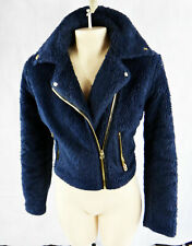 TRUE Religion Faux vegan FUR biker moto jacket blue medium navy gold zipper girl