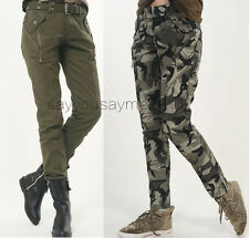 Womens Camo Military Army Cargo Pencil Pants Skinny Jeans Leisure Trousers #8688