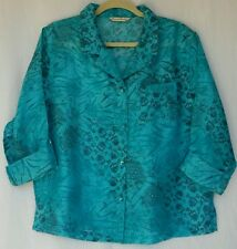 French Laundry Gorgeous Turquoise Burnout 3/4 Sleeve Blouse L EUC