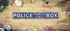 Vintage Wood LONDON street road sign,  POLICE CALL BOX