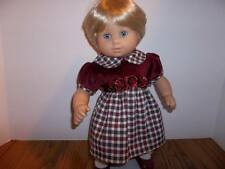 """Holiday Burgundy and Green Dress for15"""" American Girl  Bitty / Twin Doll Clothes"""