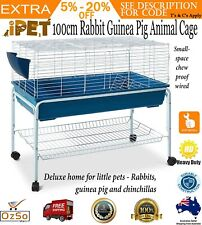 100cm Bunny Home Hutch Cage Rabbit Guinea Pig Hamster Habitat Wheel Stand Feeder