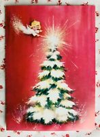Vintage Hot Pink Christmas Greeting Card Little Angel & Christmas  Tree