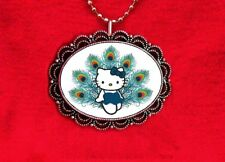 HELLO KITTY PEACOCK TURQUOISE BIRD CAT PLUMES FEATHERS KAWAII PENDANT NECKLACE