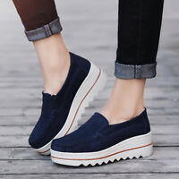 Women's Wedge Breathable Platform Creepers Slip On Suede Loafers Casual *