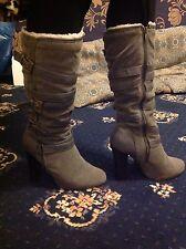 Grey Block Heel Platform Buckle Below Knee Boots