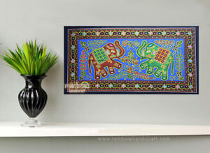 ethnic elephant sequin wall hanging folk tapestry indian tribal art home decor