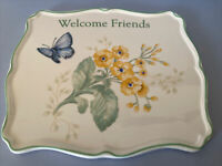 Lenox Butterfly Meadow Trivet Blue Yellow 885909 Welcome Friends Flowers Tag