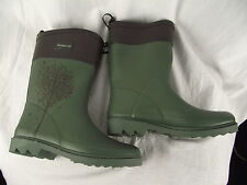 BNWT Older Girls Sz 2 Quality Rivers Doghouse Brand Olive/Brown Print Gumboots