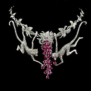 Heated Oval Ruby 6x4mm Marcasite 925 Sterling Silver Monkey Necklace 18 Inches