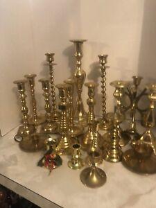 Brass Candlesticks Lot of 19 Brass/Mixed Candlestick Holder Wedding Decor boxA