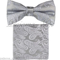 Silver Paisley Pre-tied Bow tie and Pocket Square Hanky Set Formal Party Wedding