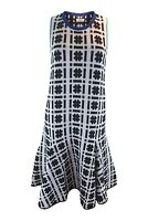 ISSA Silvia Hashtag Printed Jacquard Black White Blue Sleeveless Dress (S)