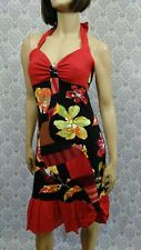 Myco Anna Halter Dress Womens 3 Upcycled Patchwork Ruffled Stretch Art to Wear