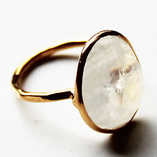 Faceted Semi-Precious Natural Stone Gold Statement Ring - Moonstone Size 9