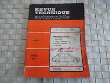 REVUE TECHNIQUE SIMCA 1100 BERLINE et SIMCA 1600 S Coupé