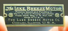 The Lake Breeze Motor - Brass Fan Cage Badge, Reproduction