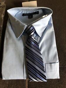 Boys Joseph Of Feiss Size 18 Reg Blue Long Sleeve Dress Shirt With Tie XXL
