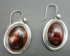 925 Silver and Amber Drop Earrings TE832