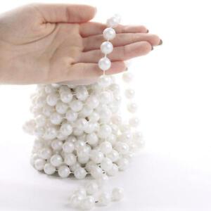 10mm White Pearl Look Bead Garland 54 Feet Total (3 Spools - 18 Feet Per Sp