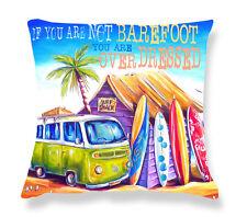 Deborah Broughton Art Throw Pillow Cushion Cover 45x45cm Surf Beach & Kombi Greenie - Text