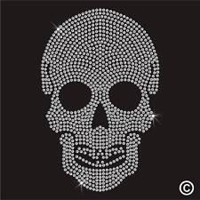 Skull Rhinestone Diamante Transfer Iron On Hotfix Gem Crystal Bling TShirt Motif