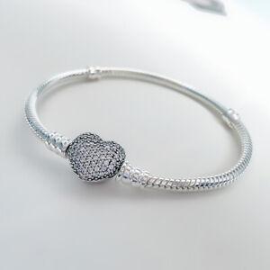 Bracelet Breloques Pandora Coeur en Argent Sterling Boîte Cadeau Pour Mères Amie