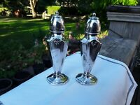 Salt And Pepper Shakers. Vintage Silverplate On Lead. Oxford Plate. Antiques
