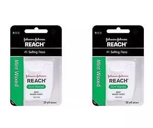 Johnson & Johnson REACH Dental Floss Mint Waxed Floss 55 Yards 2 PACKS!