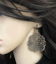 5 pairs Antique copper filigree drop earrings, trendy bohemian style earrings