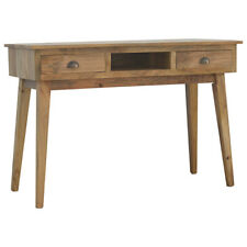 Mid Century Modern Style Two Drawer Desk With Vintage Brass Cup Handles