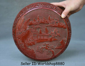 "10"" Qianlong Marked Old Red Lacquerware Dynasty landscape Jewelry box jewel case"