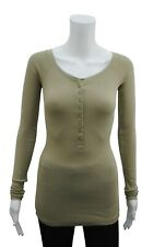 Womens P.C T-Shirt Top Button Up Long Sleeve Ribbed LYCRA Khaki Plus Size 8 - 24