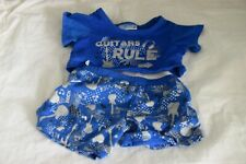 Build a Bear 2 piece outfit featuring Guitar Rules, blue and white, shoes/guitar