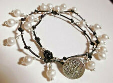 White Pearl & Leather Double Wrap Bracelet Tree of Life Silver * Sundance Arti